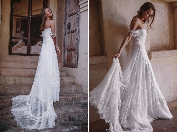coiffure de mariée romantique aux cheveux détachés, robe boheme mariage en blanc avec applications en franges et broderie