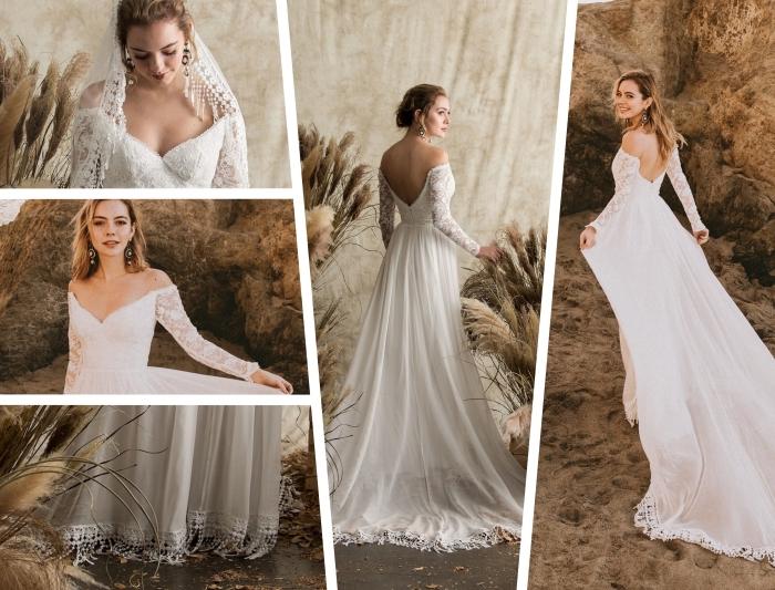 coiffure de mariée avec voile bohème avec broderie florale et franges, modèle de robe mariée bohème aux épaules dénudées