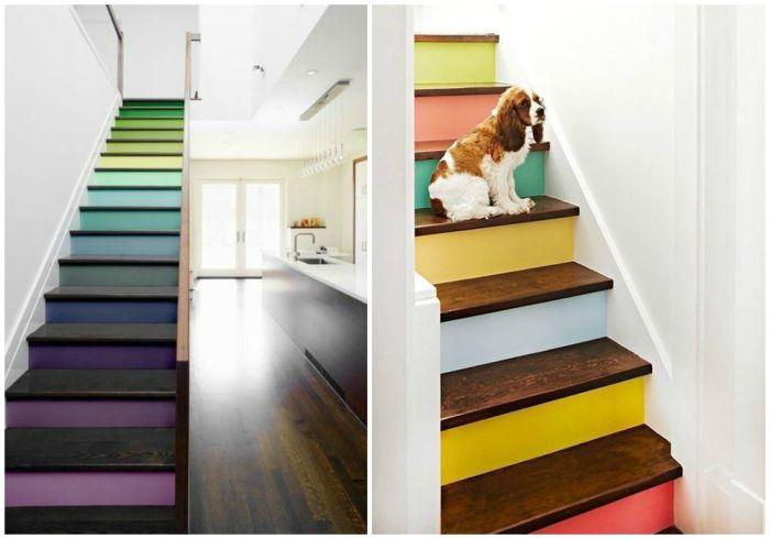 contremarches peintes en couleurs différentes en joli contraste avec les marches en bois vernis pour dynamiser l'escalier et lui donner un coup de neuf
