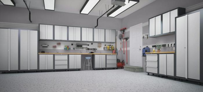 exemple etageres garage fonctionnels, modèle kit armoires pour outils, comment rénover son garage avec peinture grise