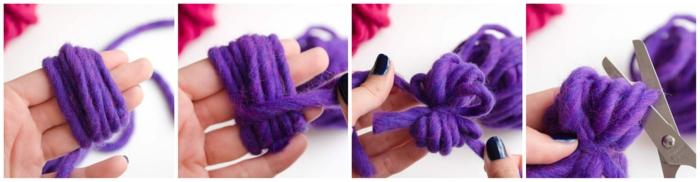 fabriquer un pompon, pompon en laine pourpre fait avec les mains, fil de laine épais, diy pompon