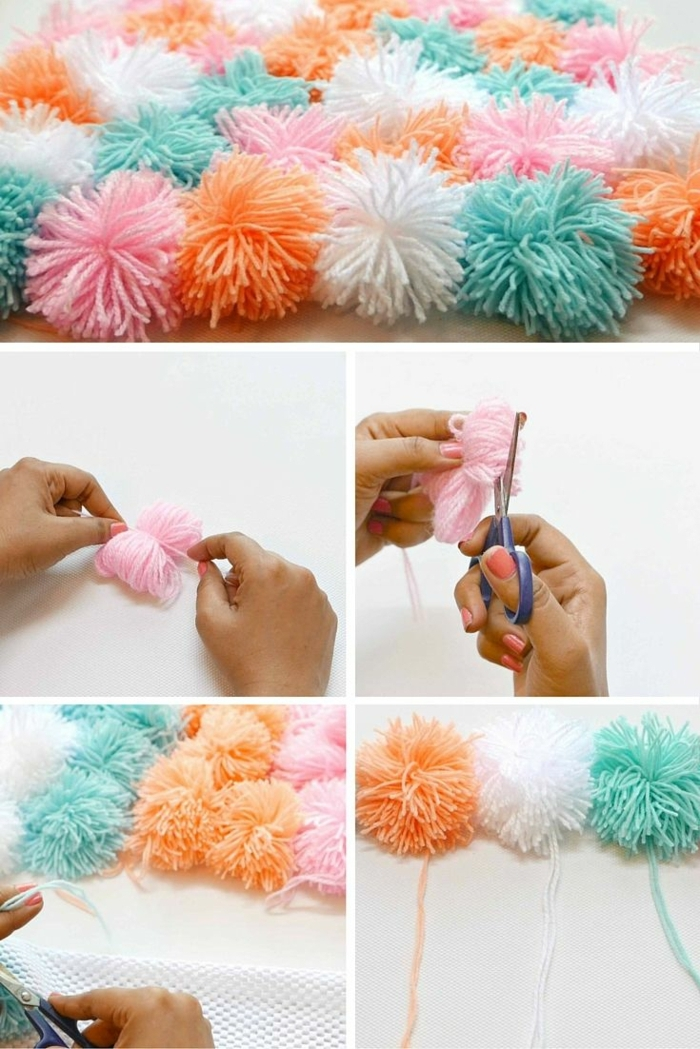 arrangement de pompons en couleurs pastels, pompons oranges, roses, blancs, turquoises, fabriquer des pompons