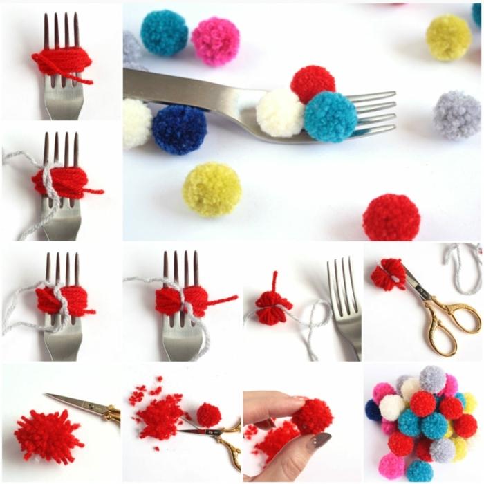 fabriquer des pompons de petite taille en couleurs différentes, comment faire de pompons avec fourchette