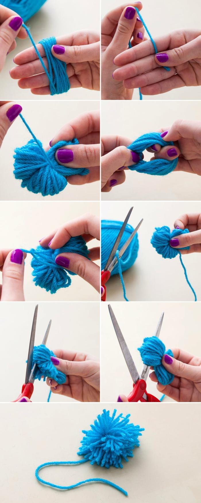 faire un pompon en laine, peloton de fil bleu enroulé autour des doigts, technique pour fabriquer des pompons