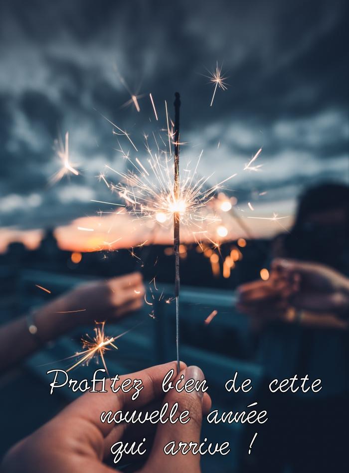photo bonne fete de fin d'année, célébration nouvel an avec feu bengali, photo amitié et bonne humeur avec voeux nouvel an