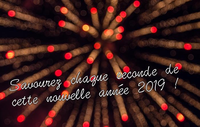 carte de bonne année 2019, photo fête de nouvel an avec feux d'artifice, fond d'écran avec souhaits nouvel an 2019