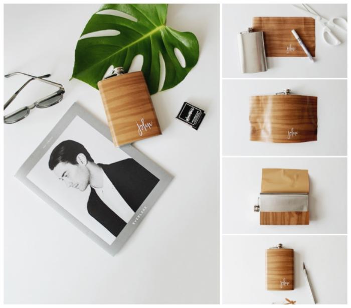 cadeau fete des peres personnalisé, flasque à alcool personnalisée habillé de papier adhésif effet bois