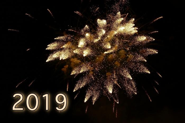 carte de bonne année 2019, photographie nouvel an, photo spectacle feux d'artifice pour les fêtes de fin d'année