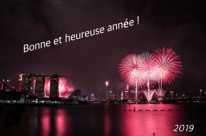 belles images bonne année 2019, photographie lumières de nuit, fond d'écran célébration de nouvel an 2019