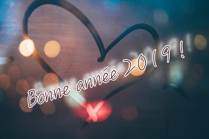 photo romantique pour nouvel an, idée wallpaper pc 2019, image lumières de nuit avec mots bonne année 2019