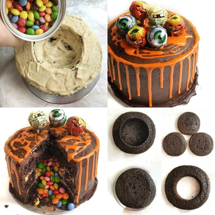 idée de gateau chocolat smarties pour la fête d'halloween au glaçage coulant orange