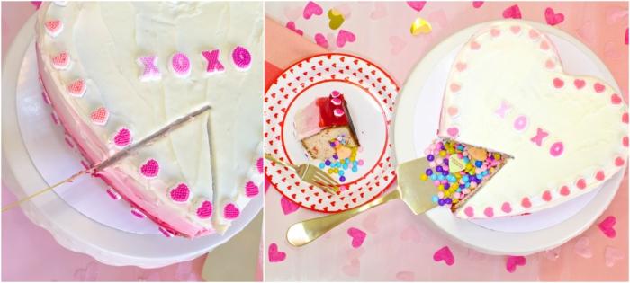 un gateau pinata en forme de coeur pour la saint valentin, qui cache des bonbons cœurs au glaçage dégradé
