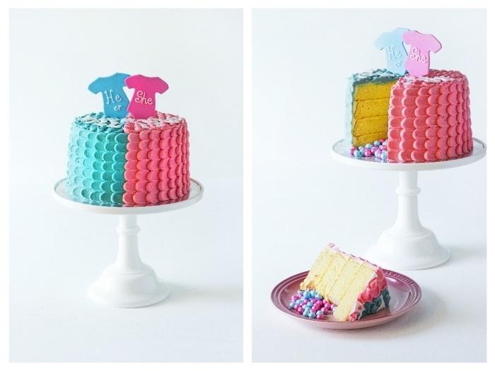 pinata cake de baby shower pour révéler le sexe du futur bébé, au glaçage de pétales mi rose, mi bleu