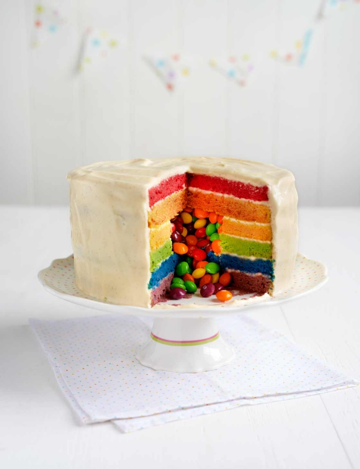 recette de gateau aux smarties façon piñata cake, composé de génoises aux couleurs de l'arc-en-ciel, nappé de crème au beurre
