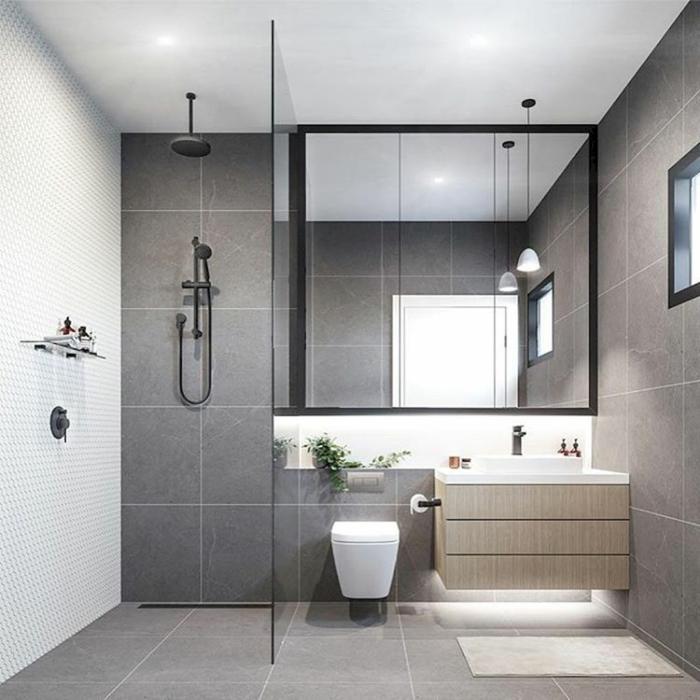Chouette decoration industriel meuble salle de bain industriel déco salle de bain original industriel style gris et noir