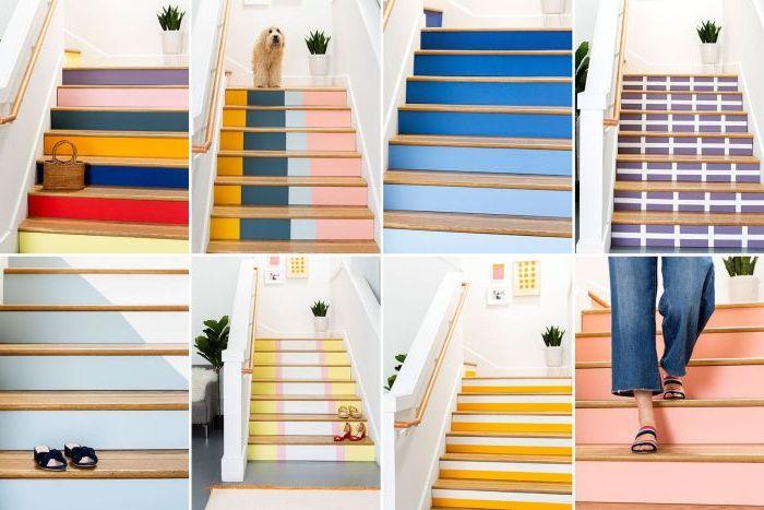 choisir la couleur peinture escalier adaptée à l'aide d'un simulateur de couleurs, escalier peint de plusieurs façons et de plusieurs couleurs vitaminées