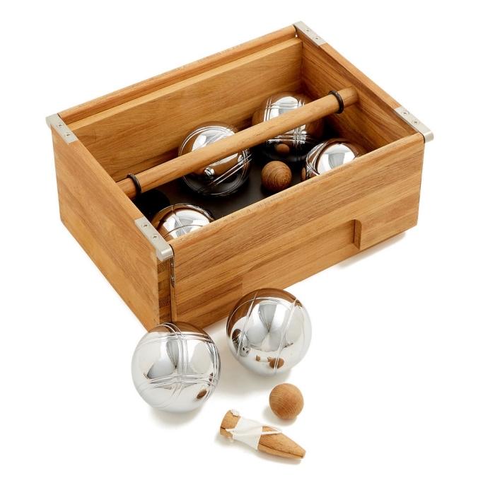 idée cadeau grand père, kit de boules de pétanque à finition satinée en inox, dans une boîte en bois élégante