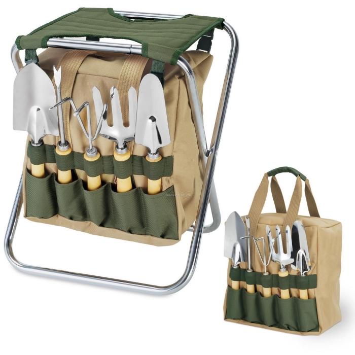 chaise de jardinage pliante en toile avec des poches de rangement multiples, idée cadeau homme 60 ans