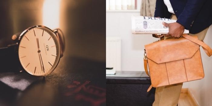idée cadeau anniversaire homme d'affaire qui apprécie les accessoires de mode élégants, montre de luxe suisse ou sac bandoulière en cuir