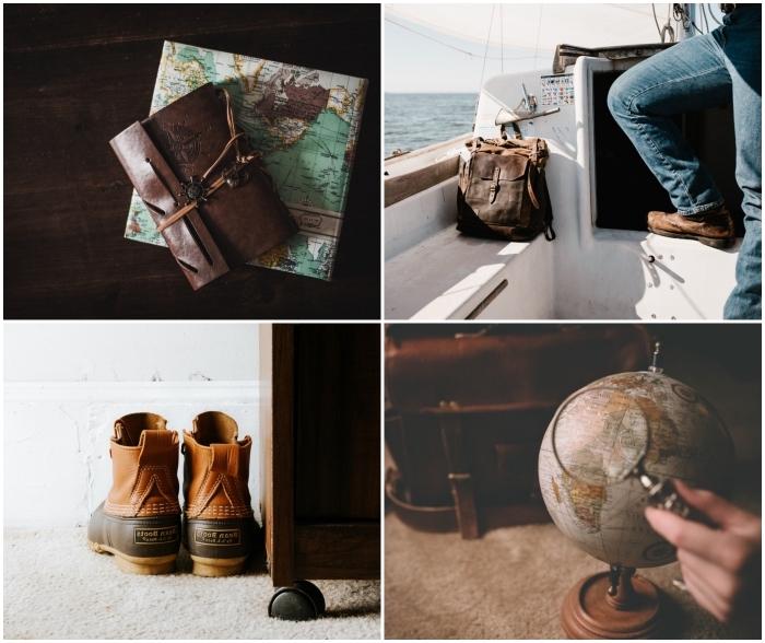 idées de cadeaux pour l'homme qui aime voyager, bottes montantes de randonnées, sac en cuir, globe terrestre vintage et carnet de voyage en cuir