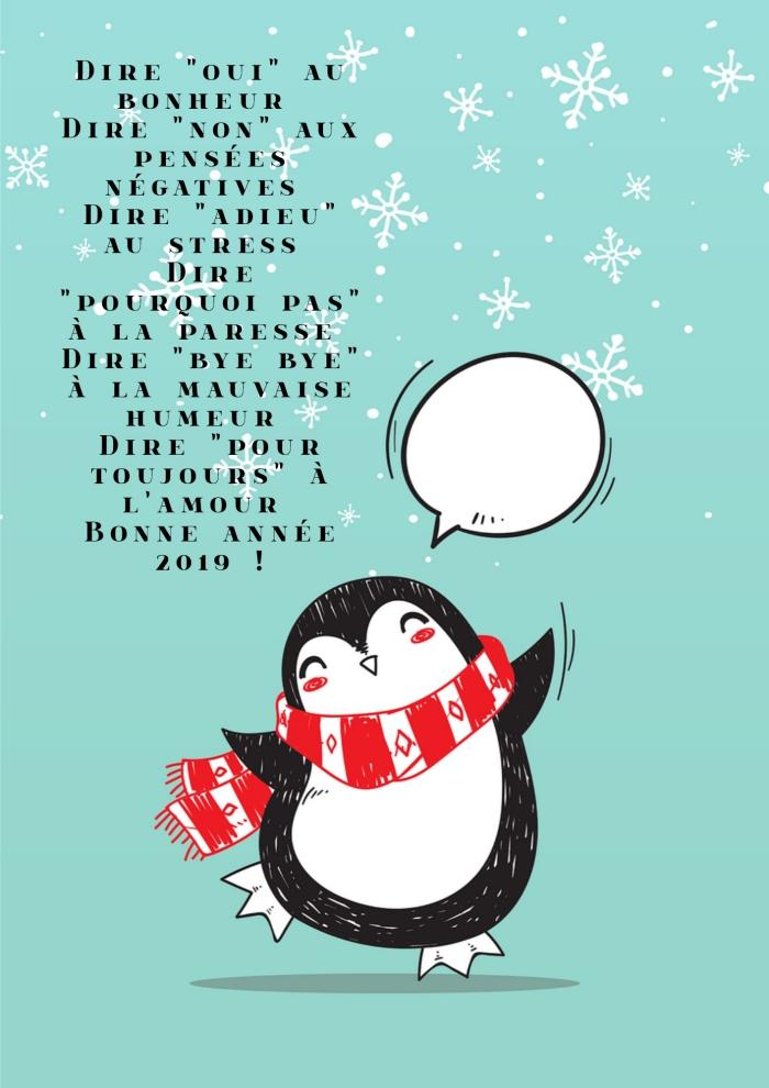 bonne année 2019 image, illustration mignonne avec pignon et flocons de neige, idée phare inspirante nouvel an