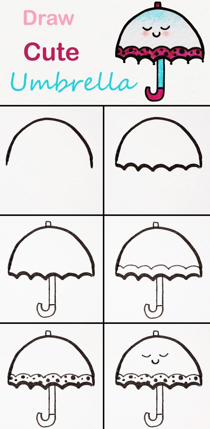 pas à pas dessin de parapluie facile, idée de dessin facile à faire pour débutants, comment dessiner parapluie