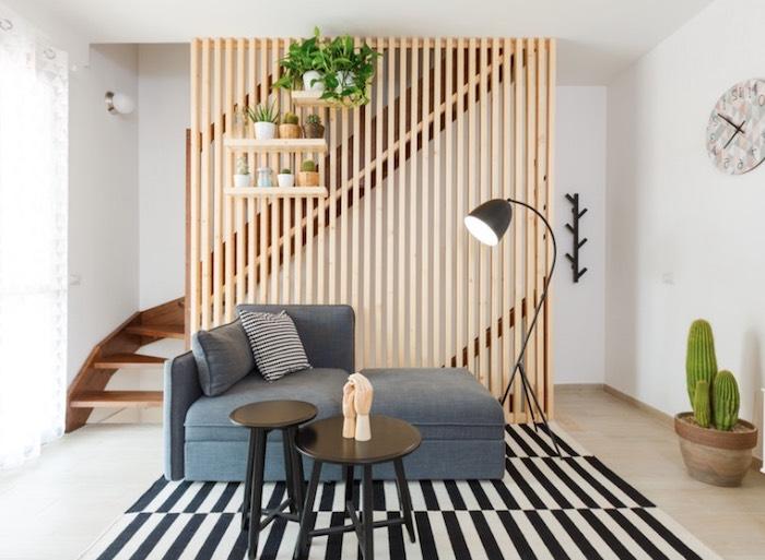 modele de claustra interieur avec des lames de bois et quelques étagères pour ranger plantes vertes interieur, tapis zèbre, canapé gris