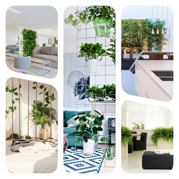 mur végétal intérieur, écran de verdure et tableau végétal, separation de piece sans percage avec des plantes vertes, treillis, bambou, pots de fleurs, bac à fleurs