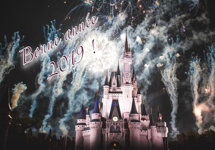 idée carte de bonne année 2019, photo château et spectacle de feux d'artifice, célébration de nouvel an dehors