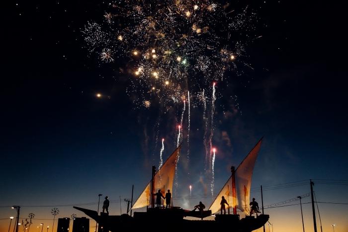 photo bonne année 2019, fête lumières avec feux d'artifice, photographie spectacle lumières nouvel an 2019