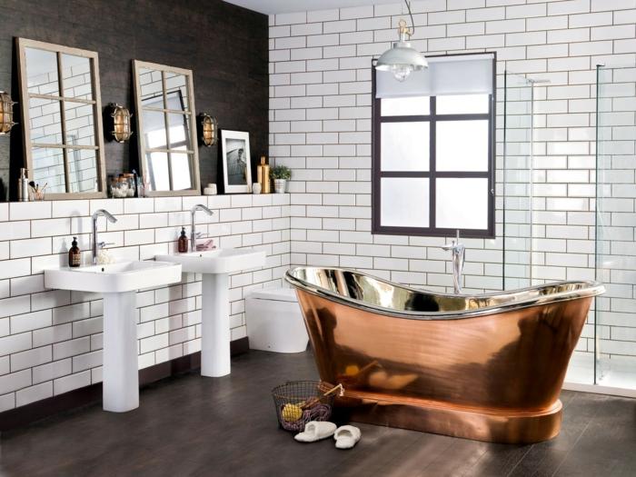 Contmporaine salle de bain au style vintage, decoration industriel, magnifique idée de salle de bain en photo baignoire metal