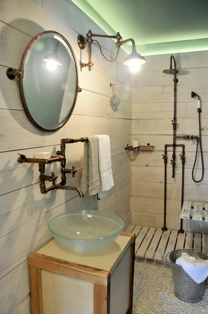 Meuble salle de bain industriel, verriere salle de bain, relooker sa salle de bains projet pour la décoration
