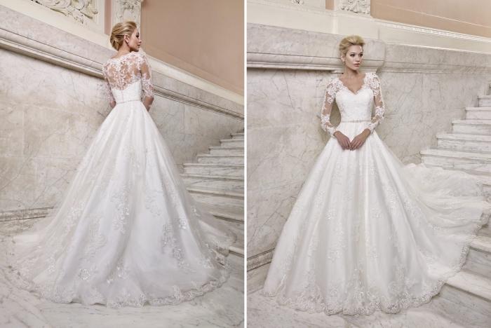 modèle de robe design crop top avec jupe de bal, robe de mariée manche dentelle florale à effet tatouage avec bustier coeur