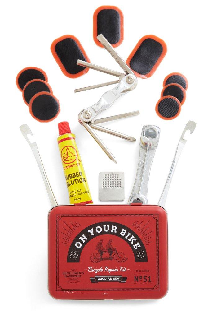kit de réparation de poche pour vélo avec contenant des outils indispensables, boîte à outils pour vélo rouge au look rétro