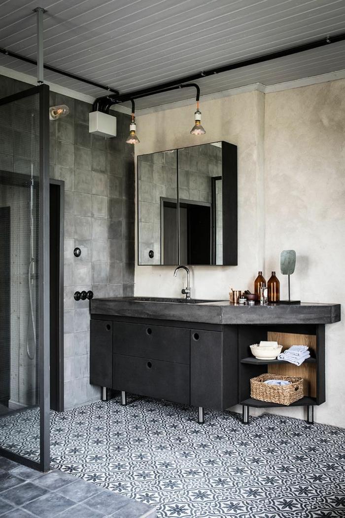 Style industriel simplicité, formes simples meuble salle de bain vintage, interieur amenagement