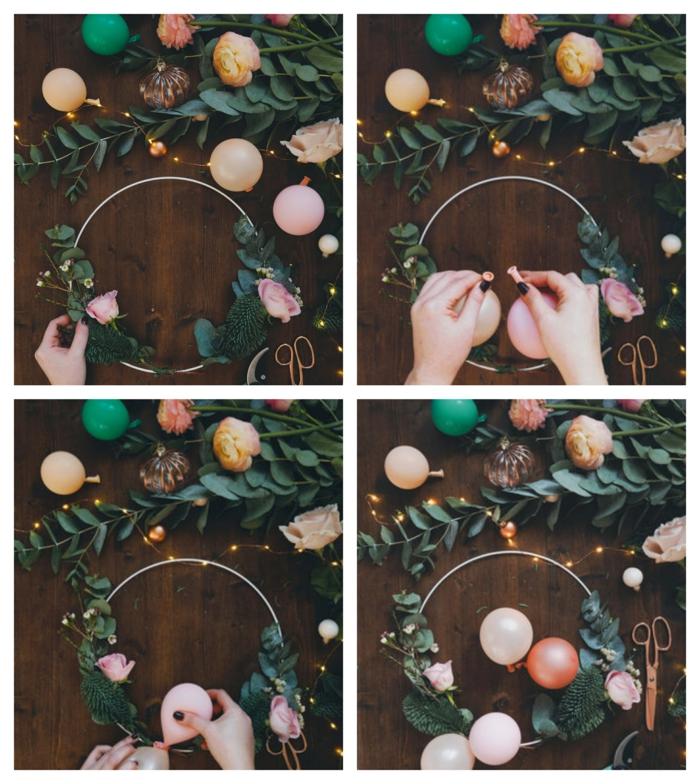 déco de mini ballons, cerceau de décoration, bouquet de fleurs, guirlande d'ampoules électriques