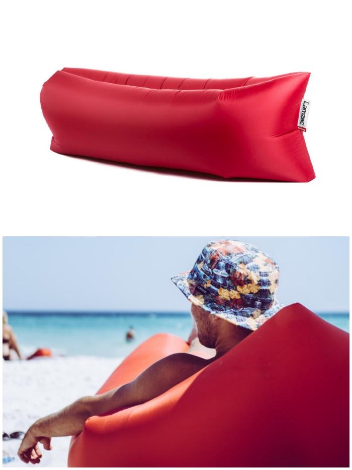lit de repos gonflable lamzac de la marque fatboy qui se transporte facilement et qui est résistant à l'eau, idée de cadeau insolite homme