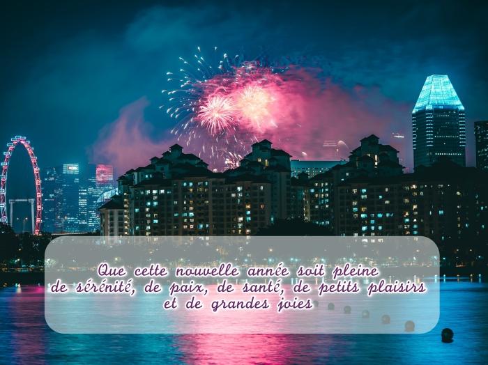 bonne fete de fin d'année, photo feux d'artifice pour nouvel an, idée carte de voeux pour nouvel an, message nouvel an