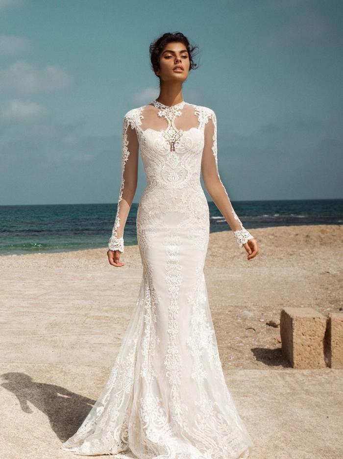 robe de mariée bohème dentelle à manches transparentes avec applications en dentelle florale, robe sirène originale