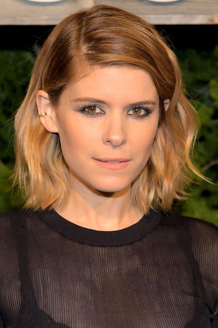 exemple de balayage sur cheveux chatain, coupe de cheveux carré tendance 2018, idée coloration blonde sur châtain