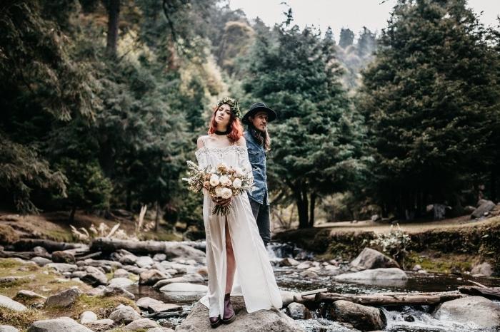 idée quelle robe de mariée pour mariage hippie boho chic, modèle de robe blanche à épaules dénudées et dentelle