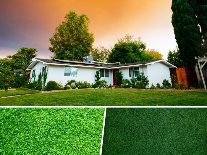 modèle de gazon artificiel pas cher, composition pelouse artificielle en fil fin et frisé, astuce jardinage sans entretien
