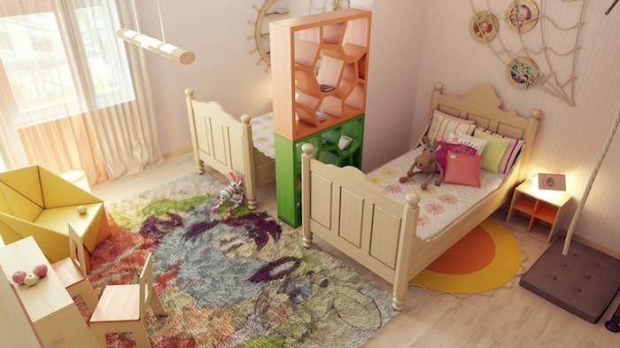 deco chambre enfant fille avec deux lits séparés par une étagère de séparation originale orange et vert, tapis coloré