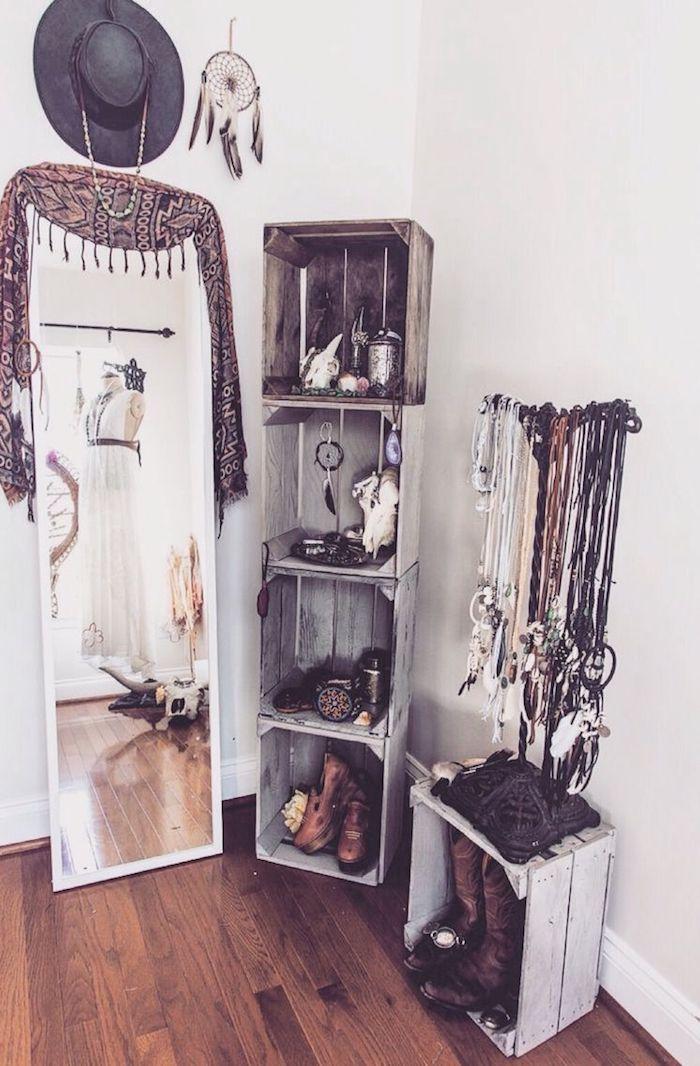 Dressing chambre caisson dressing ranger ses vêtements facilement vintage style, palettes gris hipster