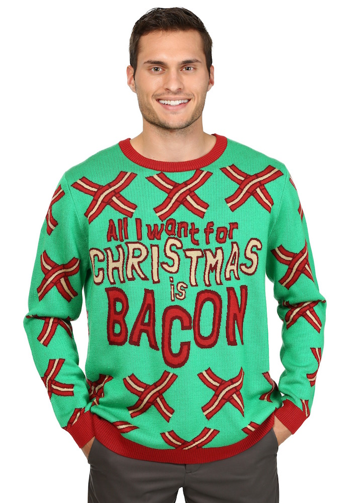 pull de noel tres moche pour homme avec dessin de bacon sur couleur vert kitsch