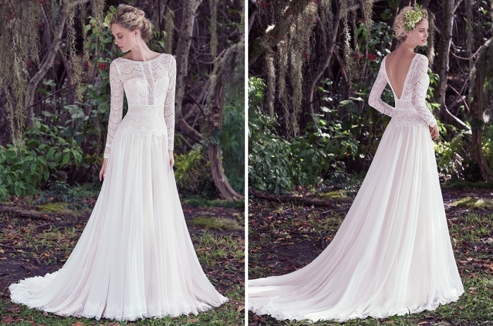robe mariée bohème à design romantique avec bustier et col montant, modèle robe de mariée blanche à traîne longue