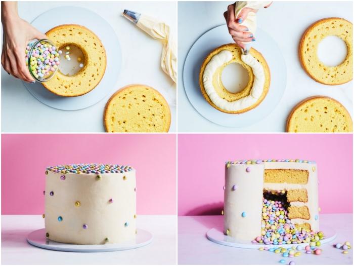 recette de layered cake original, gateau a la vanille garni de bonbons multicolores au glaçage
