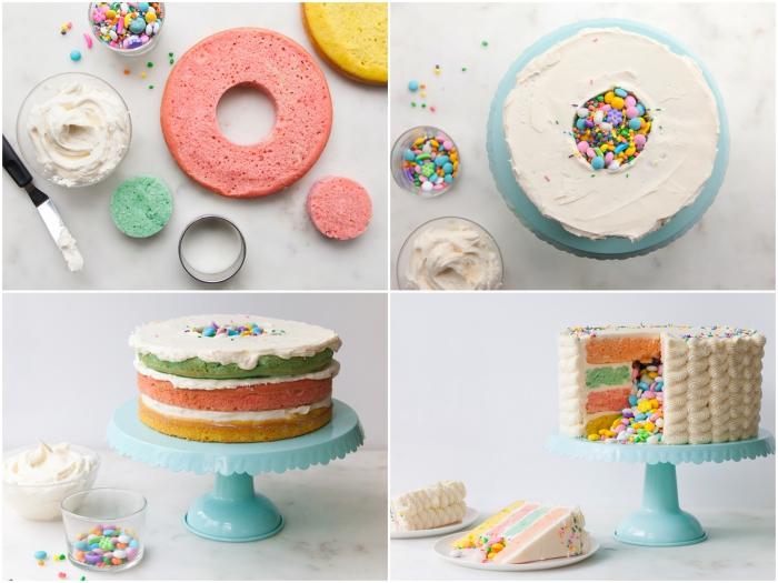 la technique de montage d'un gâteau surprise, composé de quatre génoises de couleurs différentes avec un centre vide rempli de smarties