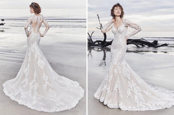 coiffure de mariée pour cheveux mi-longs ou courts avec diadème noire, modèle de robe de mariée sirène avec décolleté