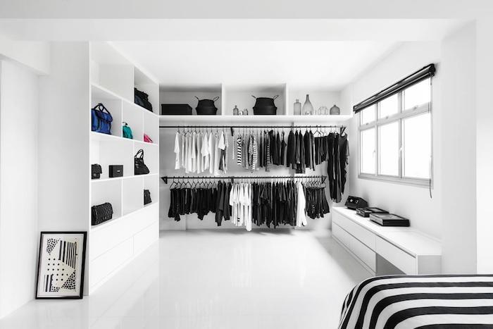 Rangement vetement meuble rangement chambre pour les vetements blanc et noir